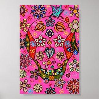 Pink Garden Flowers Sugar Skull Poster