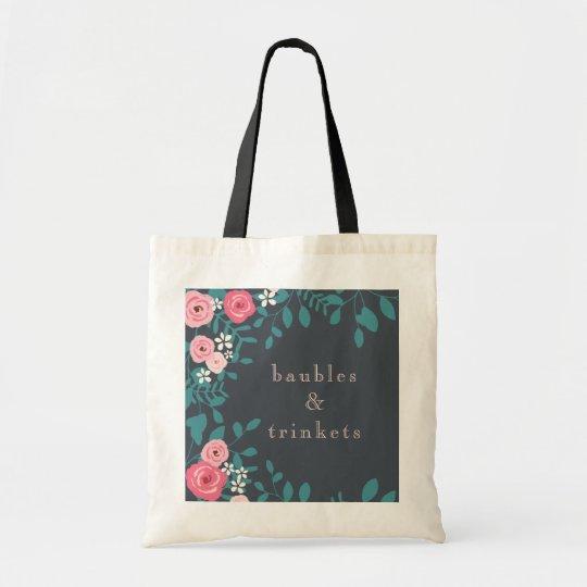 Pink Garden Flowers Tote Bag