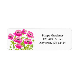 Pink Garden Poppy Flowers Avery Label Return Address Label
