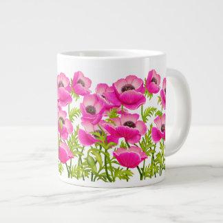 Pink Garden Poppy Flowers Jumbo Mug