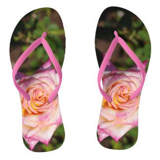 Pink Garden Rose Flip Flops