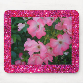 Pink Garden Rose Floral Pretty Girly Sparkle Mouse Pad