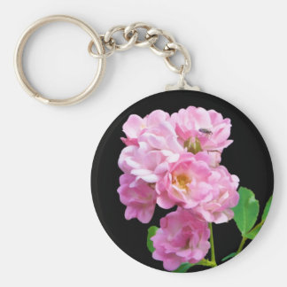 Pink Garden Roses and Beetle Basic Round Button Keychain