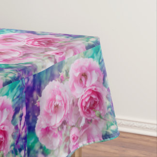 Pink garden roses, pretty table cloth