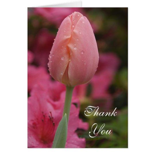 Pink Garden Tulip Thank You Card