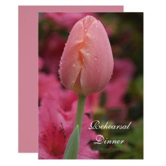 Pink Garden Tulip Wedding Rehearsal Dinner Invite