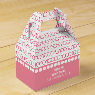 Pink Geek Chic Binary Code Favor Boxes