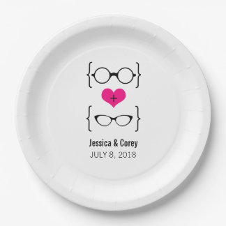 Pink Geeky Glasses Paper Plates