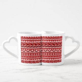 Pink Geometric Abstract Aztec Tribal Print Pattern Coffee Mug Set