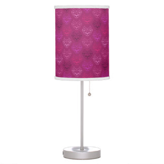 Pink Geometric Cat Pattern Table Lamp