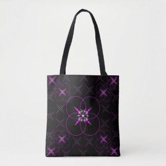 Pink Geometric Crop Circle Tote Bag