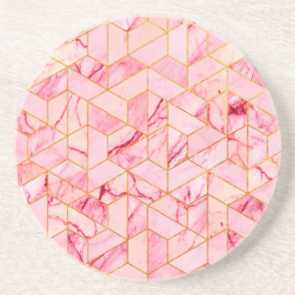 Pink geometric marble coaster