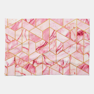 Pink geometric marble hand towels