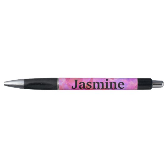 Pink Geometric Pattern Custom Name Pen
