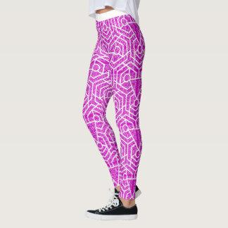 Pink Geometric Pattern Design Leggings