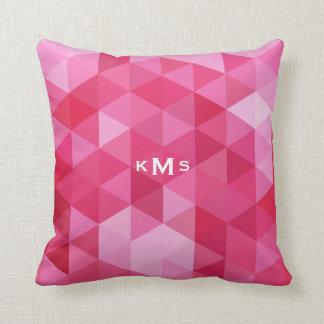 Pink Geometric Pattern Monogram Pillow