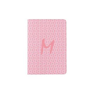 Pink Geometric Patterned Monogram Passport Holder