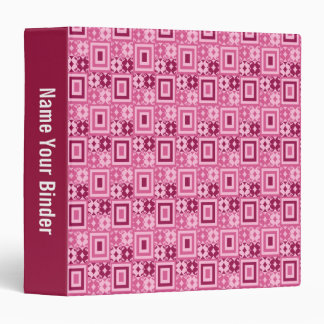 Pink Geometric Retro Pattern 1.5 inch Vinyl Binders