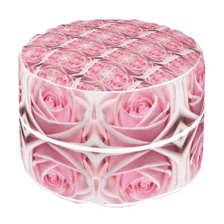 Pink Geometric Roses design Pouf