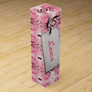 Pink Geometric Roses design Wine Box