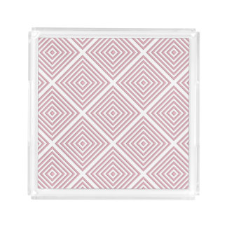Pink Geometric Squares Acrylic Tray
