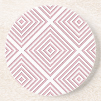 Pink Geometric Squares Coaster