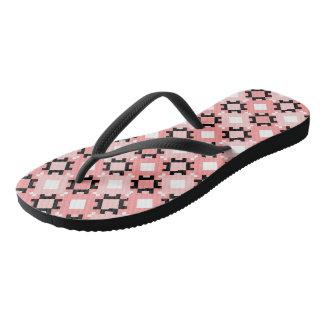 Pink Geometric Squares Design Flip Flops