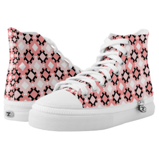 Pink Geometric Squares Design High Top Sneakers