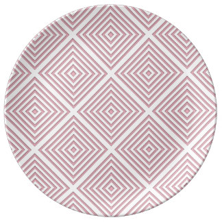 Pink Geometric Squares Plate