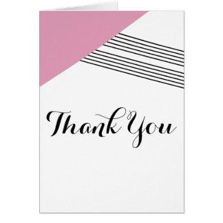 Pink Geometric Stripe Thank You Card