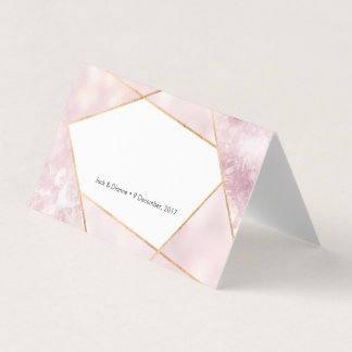 Pink Geometric Tent Cards | Wedding Place Cards