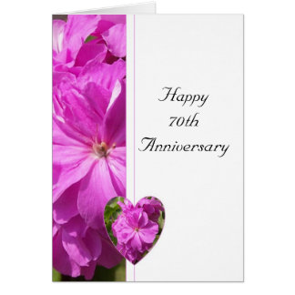 Pink Geranium 70th Wedding Anniversary Card