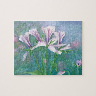 Pink Geranium Watercolor Flowers Jigsaw Puzzle