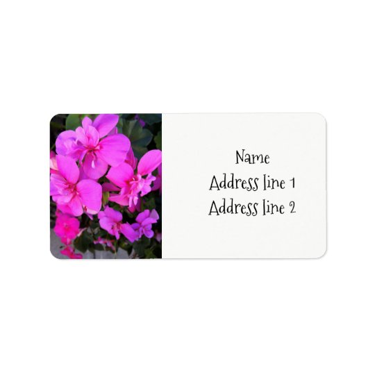 Pink geraniums address labels