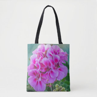 Pink geraniums all-over-print tote bag