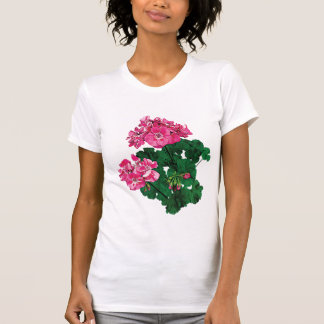 Pink Geraniums and Buds Ladies T-Shirt