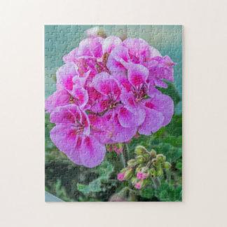 Pink geraniums photo puzzle