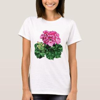 Pink Geraniums with Dew Ladies T-Shirt