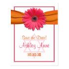 Pink Gerber Daisy Bat Mitzvah Save the Date Postcard