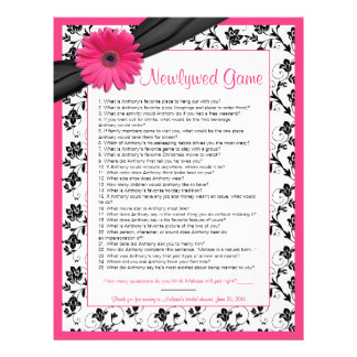 Pink Gerber Daisy Black Floral Bridal Shower Game Customized Letterhead