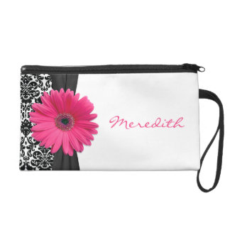 Pink Gerber Daisy Damask Personalized Wristlet