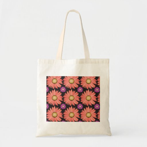 Pink Gerber Daisy Flowers on Black Floral Pattern Tote Bags