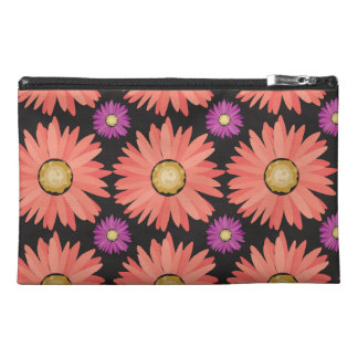 Pink Gerber Daisy Flowers on Black Floral Pattern Travel Accessory Bag