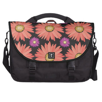 Pink Gerber Daisy Flowers on Black Floral Pattern Laptop Bags