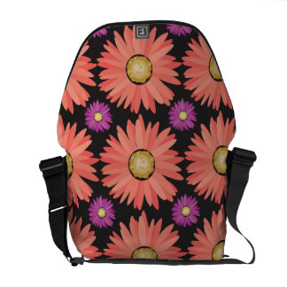 Pink Gerber Daisy Flowers on Black Floral Pattern Courier Bags