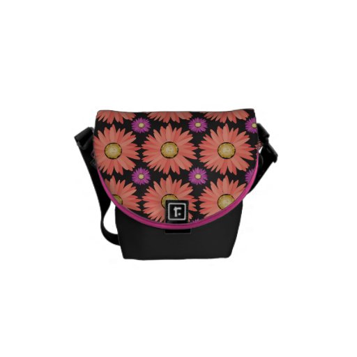 Pink Gerber Daisy Flowers on Black Floral Pattern Courier Bag