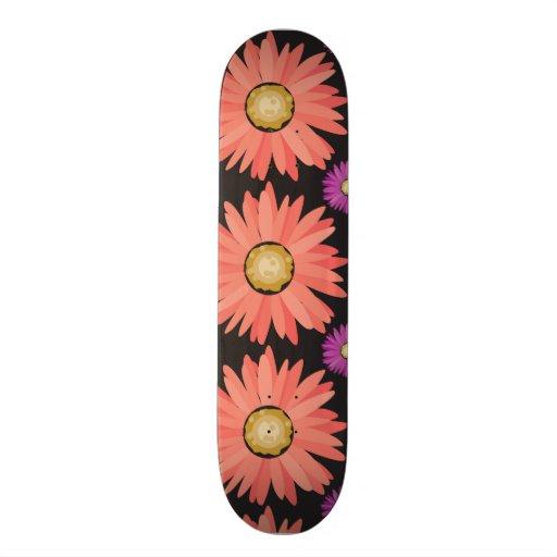 Pink Gerber Daisy Flowers on Black Floral Pattern Skate Board