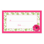 Pink Gerber Daisy Green Damask Wedding Place Cards Pack Of Standard Business Cards