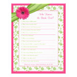 Pink Gerber Daisy Green Floral Bridal Shower Game Customized Letterhead