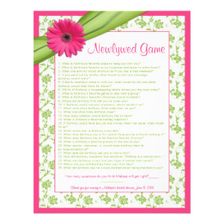 Pink Gerber Daisy Green Floral Bridal Shower Game Personalized Letterhead